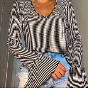Forever 21 + Black White Stripe Flare Sleeve Top